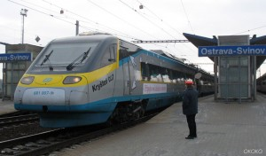 Pociąg Pendolino na stacji Ostrava Svinov