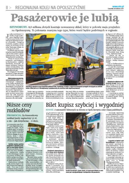 """""""Regionalna Kolej na Opolszczyźnie"""" – nowy dodatek do NTO"""