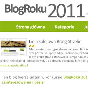 """""""Linia kolejowa Brzeg-Strzelin"""" w konkursie Blog Roku 2011"""